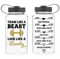 Motivational Water Bottle encouraging Train Like a Beast Look Like a Beauty BPA free workout water bottle motivation 34 Oz sports bottle a by Limboea