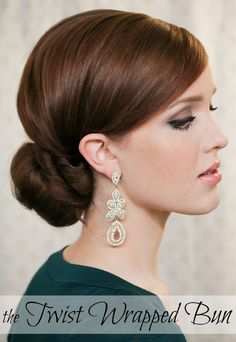 The Twist Wrapped Bun tutorial.  Love the red hair, make-up, green dress and earrings!  Great for holiday party, wedding or formal engagement sessions!