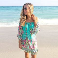 Women Sexy Summer Beach Dress Plus Size Off Shoulder Bohemian Beach Floral Print Dress Short Kawaii Cute Women Dress Vestidos