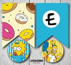 Kit imprimible / Cumpleaños infantiles / Los Simpsons / Homero Marge Bart Lisa Maggie / Candy bar y decoracion / Banderines / Toppers / Invitaciones / Golosinas / Fiestas temáticas / Diseño para niños / Primer año / Hazlo tu misma / Envios a todo el mundo / Printable kit / Kids birthday party / Decor / The Simpsons / Themed party / Design for boys / DIY / We ship worldwide / lauraydonna@gmail.com / Click on image to buy / Click en la imagen para comprar The Simpsons Theme, Simpsons Party, Twin Birthday, Husband Birthday, Happy Birthday Parties, Birthday Party Themes, Bolo Simpsons, Homer Simpson Donuts, Disney Scrapbook