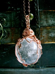 Full Moon Large Quartz Amulet by EireCrescent on Etsy, Wire Wrapped Jewelry, Wire Jewelry, Jewelry Crafts, Handmade Jewelry, Jewellery, Jewelry Accessories, Jewelry Design, Wiccan Jewelry, Jewelry Making
