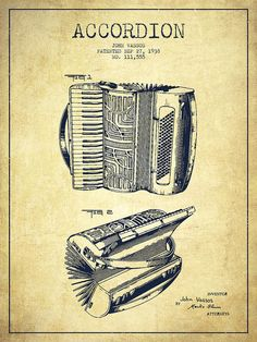 Accordion Poster featuring the drawing Accordion Patent Drawing From 1938 by… Accordion Instrument, Piano Accordion, Tango, Patent Drawing, Images And Words, Patent Prints, Woman Painting, Vintage Wall Art, Music Notes