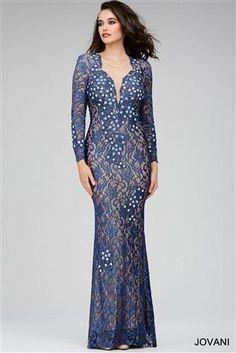 Blue Lace V-Neck Dress
