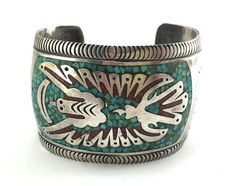 Navajo Bracelets - Gibson Gene - Navajo Turquoise and Coral Chip Inlay and Silver Peyote Bird Design Bracelet