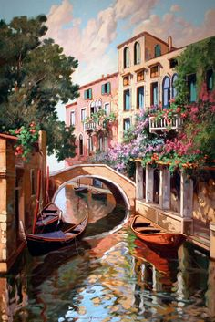 Art of Venice Italy pieces) Watercolor Landscape, Landscape Paintings, Watercolor Paintings, Oil Paintings, Sunset Landscape, Venice Painting, Italy Painting, Image Nature, City Art