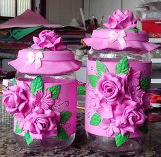 vidros decorados com e.v.a rosa