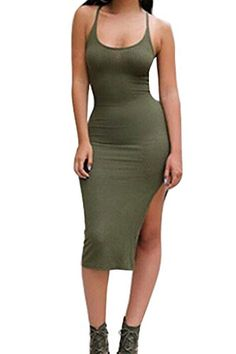 Material:Spandex,polyester Color:Army green Womens celebrity U neck low cut neckline slim fit high slit knee length bodycon dress