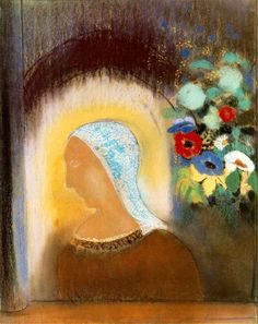 Odilon Redon ~ Profile and Flowers, 1912