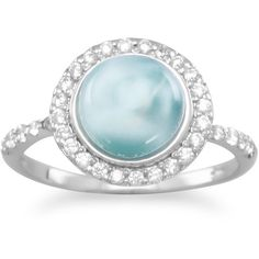 Rhodium Plated Round Larimar and CZ Ring (17.240 HUF) ❤ liked on Polyvore featuring jewelry, rings, cubic zirconia band rings, cz jewellery, cz rings, cubic zirconia jewelry and rhodium plated ring