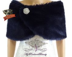 Bridal Shrug Bridal Wrap Black Faux Fur Stole by MyRadiantBeauty
