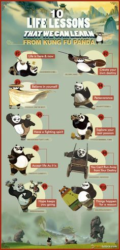 10 Life Lessons From Kung Fu Panda Infographic - e-Learning Infographics <br> Kung Fu Panda is'nt just a delightful movie; it also has some great life messages. Here are highlights 10 of the best life lessons we can learn from it. Kung Fu Panda Quotes, Po Kung Fu Panda, Cinema Tv, Panda Party, Kitty Pryde, Qi Gong, Disney Quotes, Disney And Dreamworks, Karate