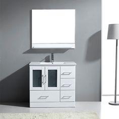 Virtu USA 36-inch Ava Single Sink White Vanity with Mirror