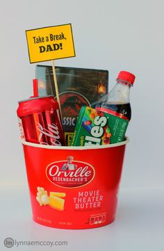 This easy Father's Day movie gift basket is also under $25! I especially love the Coca-Cola water bottle I found at Walmart!