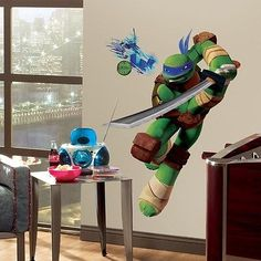 New Giant LEONARDO WALL DECALS Teenage Mutant Ninja Turtles Stickers Kids Mural - BUY NOW ONLY 17.99
