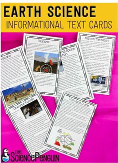 Earth Science Informational Text Cards-- great for science notebooks, reading groups, centers, and more!