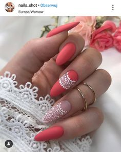 Pretty & Easy Gel Nail Designs to Copy in Trendy Gel Nails Designs Inspirations; The post Gel Nails Designs Inspirations appeared first on Trendy. Cute Acrylic Nails, Gel Nail Art, Fun Nails, Coral Gel Nails, Glow Nails, Perfect Nails, Gorgeous Nails, Pretty Nails, Almond Gel Nails