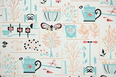 This authentic vintage wallpaper was printed in the 1960's. It is actual vintage stock, not a reproduction.    You will receive one yard of this