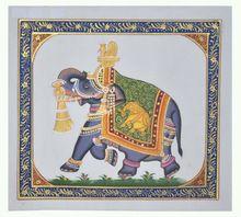 Elephant Design Wall Decor Miniature Ethnic Handmade Painting On Silk Home Decor Art