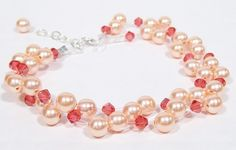 Peach & Coral 2 Strand Pearl and Crystal Bracelet by bonitaj,