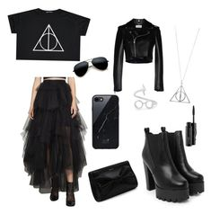 """""""Black Harry Potter party"""" by elenaanais on Polyvore featuring art"""