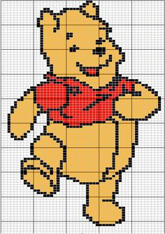 "Winnie hama perler pattern This pinner has a lot of Winnie the Pooh character cross stitch diagrams on her board ""Projekter, jeg vil prøve"" Disney Stitch, Knitting Charts, Baby Knitting, Cross Stitching, Cross Stitch Embroidery, Cross Stitch Designs, Cross Stitch Patterns, Bordado Popular, Stitch Crochet"