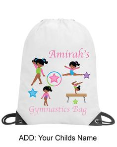 2a9716a45d17 Girl Gymnastics Bag Personalised Gym Swimming PE Bag School Gift Drawstring  2