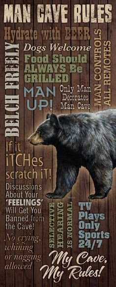 Make your man cave rules clear with this humorous wooden cabin sign. Featuring…