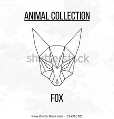 Geometric vector animal fox head background