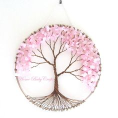 Items similar to Cherry Tree- Wire Tree of Life Wall Hanging in Rose Quartz, Sun Catcher, Rose Quartz, Love in Bloom on Etsy Baby Crafts, Diy And Crafts, Bonsai Trees For Sale, Wire Trees, Tree Of Life Pendant, Cherry Tree, Wire Crafts, Sun Catcher, Wire Art