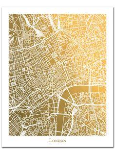 London Map Print in Gold Foil, Gold Foil Map, Gold Wall Decor, Gold Foil Print, Trendy Art, London England Wall Art, London Map Art by AdamsAleArtPrints on Etsy https://www.etsy.com/uk/listing/269411309/london-map-print-in-gold-foil-gold-foil