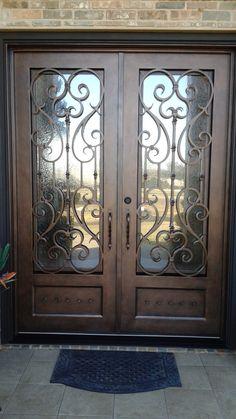 16 ideas house front door entrance wrought iron for 2019 Double Front Entry Doors, Iron Front Door, Front Door Entrance, House Front Door, Double Door Design, Front Door Design, Porte Cochere, Wrought Iron Doors, Exterior Doors