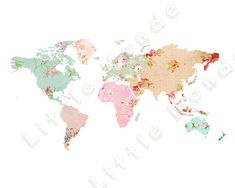 Bebé niña guardería impresiones, cartel de mundo mapa, mapa de Patchwork, rosa…