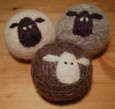 Wool Dryer Balls Set of 3  felted 100 wool by lynnslids on Etsy