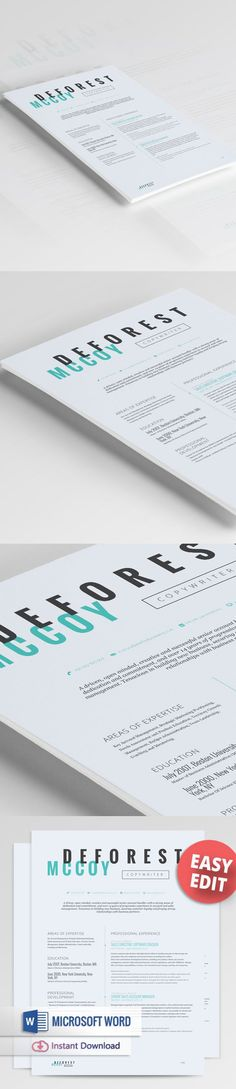 FREE EDIT - 4 Resume Templates + 2 FREE Cover Letter Templates - edit resume