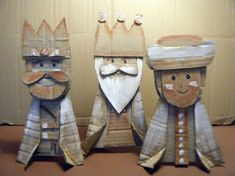 Three Kings / Reyes Magos -- cute idea for cardboard craft Diy Nativity, Christmas Nativity, Christmas Wood, Christmas Projects, Christmas Time, Faith Crafts, Man Crafts, Three Wise Men, Sunday School Crafts