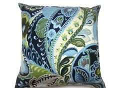 Decorative Pillow Cover Blue Chartreuse White by LynnesThisandThat (Home & Living, Home Décor, Decorative Pillows, chartreuse, pillow covers, home decor, toss pillow covers, cushion covers, modern paisley, throw pillow covers, blue and white, accent pillow covers, lynnesthisandthat, decorative pillow, all same fabric)