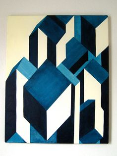 VERTIGO Modern Geometric Abstract Art Original Painting 16x20. $100.00, via Etsy.