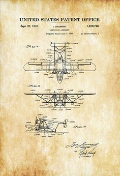 A patent print poster of an Amphibian Aircraft invented and designed by the famous aircraft designer Dragon Tattoo With Skull, Igor Sikorsky, Sikorsky Aircraft, Fixed Wing Aircraft, Vintage Trends, Vintage Ideas, Russian American, Pilot Gifts, Air Festival