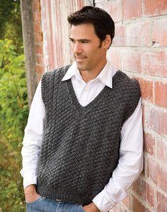 Knitting Patterns Vest Sidelines Vest - lovely free pattern for men. Loom Knitting, Knitting Patterns Free, Free Pattern, Knitting Ideas, Knit Hat For Men, Hats For Men, Knit Vest Pattern, Sweater Patterns, Creative Knitting