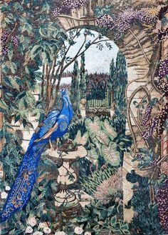 Beautiful Peacock in The Garden Mosaic Art Tile Mural | eBay