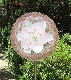 Glass Garden Flower-Pink/Peach and Crystal