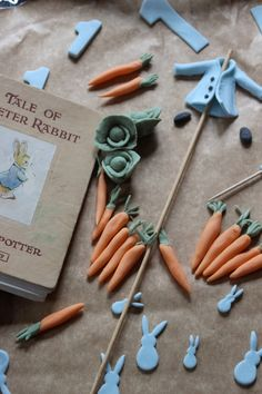 Making all the details for Henry's Peter Rabbit birthday cake.