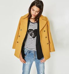 Caban de couleur Femme jaune vert - Promod Jean Outfits, Fashion Outfits, Wish Dresses, Street Style, Trends, Parisian Style, Personal Style, Dressing, Style Inspiration