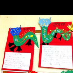Dragons created in art center. Informational text created after CNY lesson.