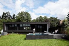 The C House - Contemporary rectangular architectural design by Lode Architecture. Lode Architecture designed this house located 20 kilometers outside Modern Bungalow House, Modern House Design, Style At Home, Spas, Architecture Résidentielle, Houses In France, Exterior Cladding, Design Moderne, Facade House