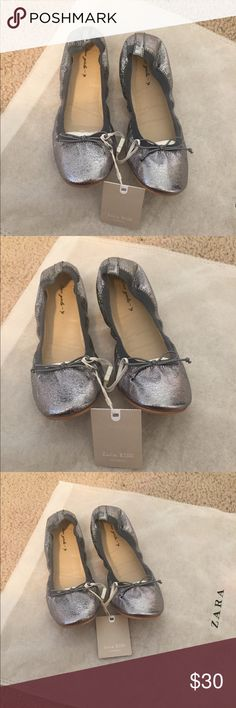 GRAY BALLERINA ZARA SHOES BALLERINA GIRL SHOES  FROM ZARA  NEW WITH TAG  EUROPE SIZE 34 US 2 AGE 9 Zara Shoes Dress Shoes