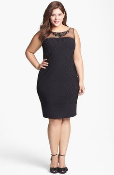 Adrianna Papell Embellished Pintuck Sheath Dress (Plus Size) | Nordstrom