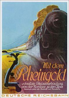 Werbung der Deutschen Reichsbahn für den Rheingold 1930
