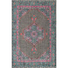 """The Surya Zahra wool rug lends vintage inspiration to contemporary interiors. With a lightly antiqued appearance, this charming floor covering stuns with bright pops of color. 100% wool; Hand-knotted; Low pile; Available in several sizes; Rug pad and professional cleaning recommended; 2'W x 3'H; 3'6""""W x 5'6""""H; 5'6""""W x 8'6""""H; 8'W x 11'H"""