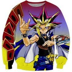 Yugioh Duel Monsters Crewneck Sweatshirt ($60) ❤ liked on Polyvore featuring tops, hoodies, sweatshirts, cartoon sweatshirts, cartoon crew neck sweatshirts, comic book, animal print tops and crew neck sweatshirts